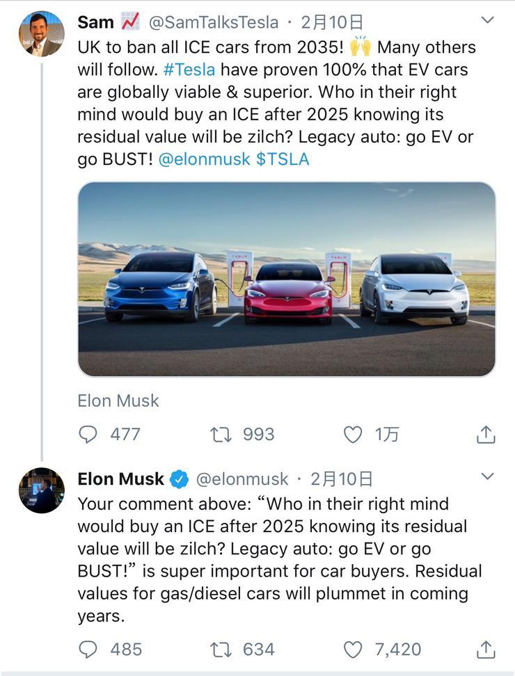 """特斯拉马斯克:""""汽油车""""的剩余价值将在未来几年暴跌"""