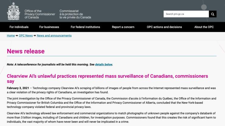 """加拿大当局""""实锤""""Clearview面部识别技术违反隐私法"""